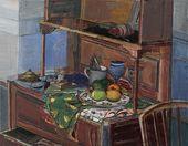 VIKTOR RUSANOV. Still-life with a Blue Wine Glass. 2014