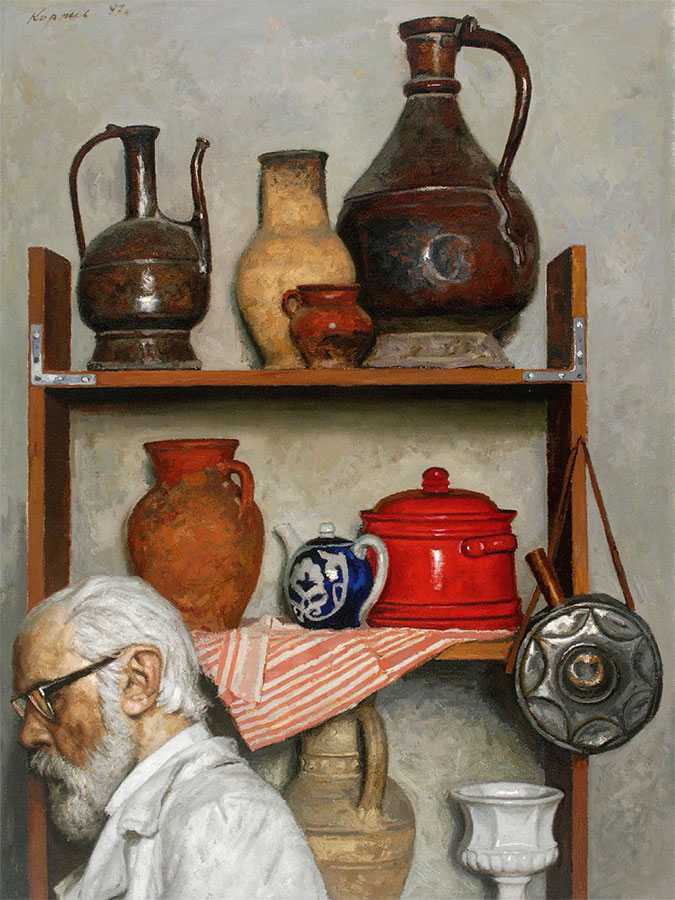 GELY KORZHEV. Still-life with Self-portrait. 1997
