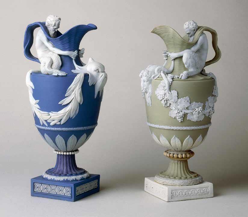 Два кувшина из яшмового фаянса с изображениями Нептуна и Вакха. 1782–1795
