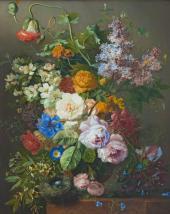 Георгиус ван Ос. Натюрморт с цветами и гнездышко м птицы. Ок. 1825