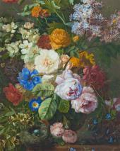 Георгиус ван Ос. Натюрморт с цветами и гнездышко м птицы. Ок. 1825. Фрагмент