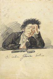 ALEKSANDR ORLOVSKY. Self-portrait (Oh! What a headache!). About 1816