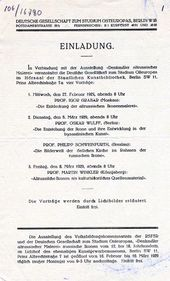 Invitation to lectures at the City Art Library of Berlin. February-March, 1929