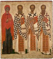 Selected Saints: Basil the Great, Gregory the Theologian, John the Chrysostome, and Paraskevi. 15th century