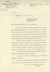 Letter from Karl Wit, Director of the Museum of Decorative and Applied Arts in Cologne, to Igor Grabar. April 25, 1929