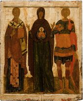 Our Lady Orant with Saints Nicolas and Dimitrius at the sides. 14th century