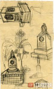 Щусев Алексей. Первоначальные эскизы надгробия А.И. Куинджи. 1911–1912