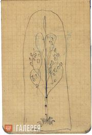 Щусев Алексей. Эскиз мозаики надгробия А.И. Куинджи. Мотив березы. 1913