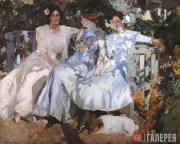 Sorolla Joaquin. The Artist's Wife and Daughters in the Garden. 1910