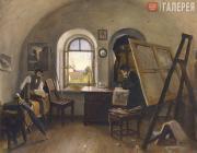Shishkin Ivan. Shishkin and Giné in Their Studio on Valaam. 1860