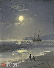 Aivazovskiy Ivan. A Sailing Ship on a Calm Sea at Moonlight. 1897