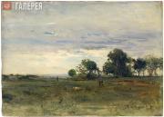 Pokhitonov Ivan. Landscape with Hunters. 1888