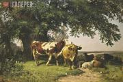 Шишкин Иван Иванович. Стадо под деревьями. 1864