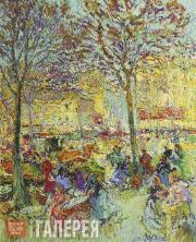Nikolai TARKHOV. Market on the Outskirts of Paris. 1907