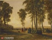Шишкин Иван Иванович. Пейзаж с гуляющими. 1869