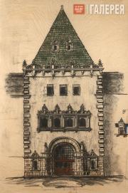 Щусев Алексей. Проект башни-вестибюля 3-го класса Казанского вокзала. 1915