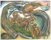 Иллюстрация к поэме Велимира Хлебникова «Вила и леший». 1918