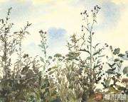 Polenova Yelena. A Thistle against Blue Sky. Olshanka. End of 1870s - early 1880