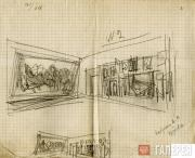 Shchusev Alexei. Picture-hanging plan for the Surikov Room of the Tretyakov Gall