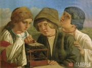 Unknown artist (circle of Alexei Venetsianov). Children Freeing a Bird. Mid-19th