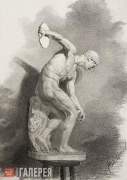"Antonov. Drawing of a plaster figure ""Discobolus"" (by Myron, mid-5th century BC)"