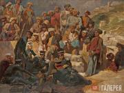 Гагарин Григорий. Офицеры на привале в селении Сиук в Дагестане