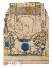 Головин Александр. Эскиз декорации спальни Императора, фрагмент, Акт III, «Солов