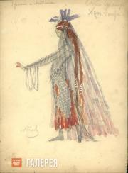 А.Я. Головин, Г.Л. Теляковская. Эскиз женского костюма. Акт IV. Хор