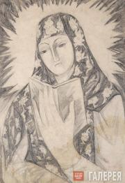 Goncharova Natalia. Young Girl with a Book (Mother of God). Early 1910 (1912?)
