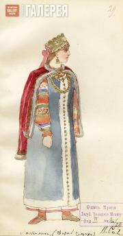 "Vladimir Sizov. Sketch of a woman's costume for Mikhail Glinka's opera ""Ivan Sus"