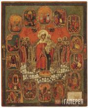 Неизвестный художник. Богоматерь на престоле, с «радостями» Богоматери. Вторая п