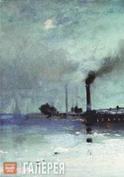 Savrasov Alexei. The Ice Breaks: View with Factory. 1880s-1890s