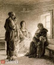 «Сидит Михайла, сложивши руки на коленках, глядит вверх, улыбается». 1886