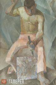 Unknown artist of the 20th century (Yu.Vasnetsov? 1900-1973). A Stonemason. 1926