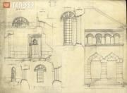 Working draft of the Holy Trinity Church in Cuhureştii. Elements, northern side