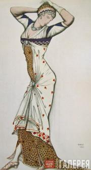 "Léon BAKST. Sketch of a costume ""Aglaia"".  1913"