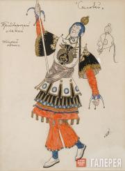 Головин Александр. Эскиз костюма Придворного лакея, «Соловей». 1918
