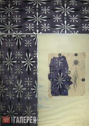 Léon BAKST. A textile print pattern sketch. Early 1920s