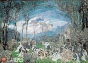 Гробница Эвридики в уединенной роще из лавров и кипарисов