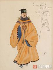 Головин Александр. Эскиз костюмов мужского хора (тенора), «Соловей». 1918