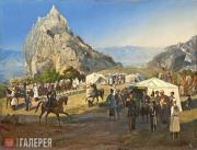 Гагарин Григорий. Летний лагерь Нижегородского драгунского полка под Караагачем
