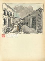 Щусев Алексей. Двор женской тюрьмы. Картина VI,  действие IV. 1926–1927