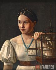 А.А.ЗЛАТОВ. Девушка с клеткой. Конец 1820-х