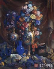 Sapunov Nikolai. A Vase, Flowers and Fruit. 1912