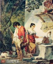 """Karl BRIULLOV. Rendezvous Interrupted (""""Water is over the brim already""""). 1827–1"""