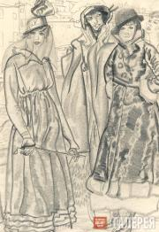 Б.Д. ГРИГОРЬЕВ. Четыре женские фигуры. 1916