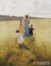 Repin Ilya. The Boundary (Vera Repina Walking with her Children). 1879