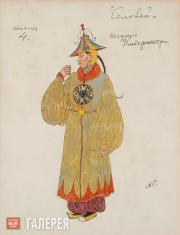 Головин Александр. Эскиз костюмов слуг Императора, «Соловей». 1918