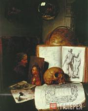Attributed to Simon Luttichuys.  Still Life with a Skull. c. 1635-1640