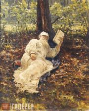Repin Ilya. Lev Nikolayevich Tolstoy Relaxing Amidst the Beauty of the Forest. 1